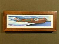 "Vintage Chris Craft Sportsman Boat 12"" Desk Top Wood Frame Custom Painting"