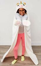 Soft Plush Girls Plush Cozy White ivory Unicorn Hooded Throw Blanket NWT, NewTag