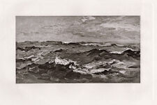 """Beautiful 1800s Henry Spencer Moore Antique Print """"Star Light Waves"""" Signed Coa"""