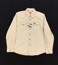NEW Wrangler Indigo Snap Button Western Cream White Shirt Slim Fit Mens Size L