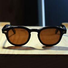 Men's Retro Vintage polarized sunglasses Johnny Depp black glasses brown lenses