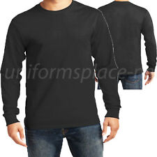Men Long Sleeve T-Shirt Long sleeve Crew Neck Tee Plain Black, White Big & Tall