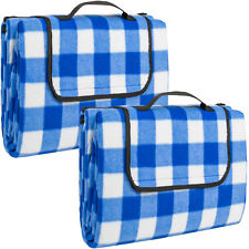 2x Colchón manta de picnic viaje camping 200x150cm fondo hidrófugo acampada azul