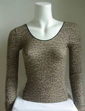Fitted Tight Long Sleeve Leopard Print Nylon Top One Size Fits All