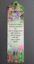 BOOKMARK HANNAH Name Meaning BIRTHDAY CHRISTMAS Gift Thankyou Present Easter
