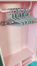 Barbie Doll Accessory Clothes Hangers💓Plastic Set Beaded Gray Bow Decor Diorama