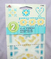 "PLAID ~ FLORAL BORDER Plastic Stencil 4 x 12"",  #17465 NEW Paint Ink Heart Home"