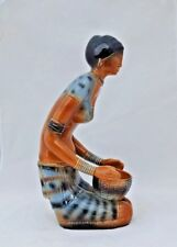 "Large  VTG. Old Porcelain Painted Beautiful Tribal Lady With Basket 14""h Statue"