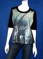 Luxus Calvin Klein Pailletten Oberteil Shirt Tunika Top NEU! Größe M 38/40