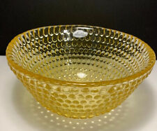"""Blenko Glass Small Glimmer Bowl Yellow 6"""" Diameter x 3"""" Tall Rounded Hobnail"""