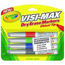 Crayola Dry Erase Markers Chisel Tip Visi-Max Maximize Visibility New