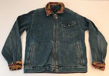 Vtg Tommy Hilfiger Tommy Jeans Women's Denim Jacket Custom Rainbow Weaving XL