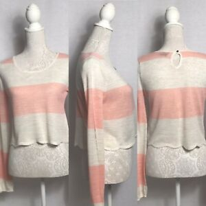Cream and pink cropped Topshop soft knit jumper, women's size 8