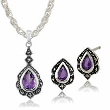 Sterling Silver Amethyst & Marcasite Art Nouveau Stud Earring & Necklace Set
