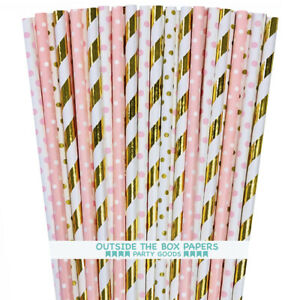 100 Pink and Gold Foil Paper Straws