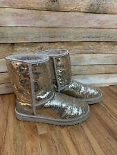 UGG Australia Classic Short Sparkles Silver Sequin Boots 3161 - Women's Size 7