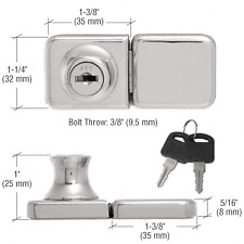 Chrome UV Bond Classic Series Glass Door Lock and Keeper for Double Doors -
