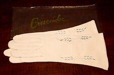 Vintage Ladies Crescendoe Beige Gloves Embroidery Detail Lined Size Regular