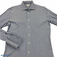 Borrelli Mens Dress Shirt Blue White Stripe Cutaway Collar 100% Cotton Italy 17