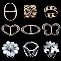 Women Scarf Buckle Brooch Holder Rhinestone Metal Scarves Jewelry Ring Clip