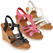 Ladies Cork Wedge Heel Shoes Strappy Sling Back Open Toes Summer Sandals