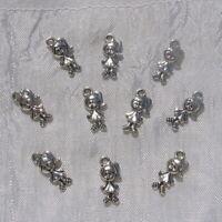 LOT 10 BRELOQUES CITROUILLE HALLOWEEN PERLES CHARMS METAL ARGENTE 18x16mm *B124