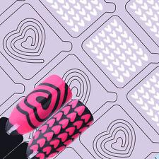 Adhesive Nail Vinyls Heart Pattern Nail Art UR Sugar Hollow Stencil Stickers 008