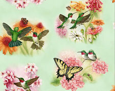 FAT QUARTER HUMMINGBIRD BUTTERFLIES SAGE ELIZABETH STUDIO COTTON QUILTING FABRIC