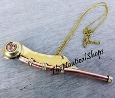Brass Copper Bosun Whistle Call Pipe New Us Navy Reproduction Gift handmade