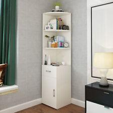 3 Tiers White Corner Bookshelf Bookcase Shelving Rack Display 1 Drawer 1 Cabinet