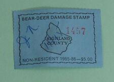 1985 Highland Co Virginia Bear Deer Damage Hunting License Stamp...Free Ship!