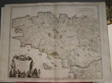 BRITTANY FRANCE 1751 ROBERT DE VAUGONDY ANTIQUE ORIGINAL COPPER ENGRAVED MAP