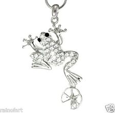 FROG W Swarovski Crystal On WATER LILY Pendant Necklace Gift