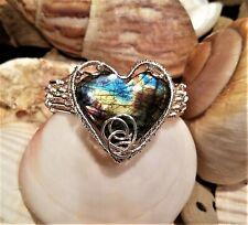 Labradorite Heart  Silver Wire Weave Bracelet