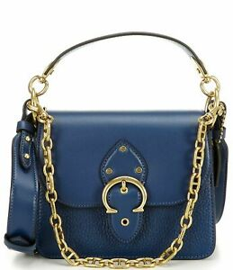 NWT $450 Coach beat shoulder bag 18 mixed leather Deep Blue chain C3840