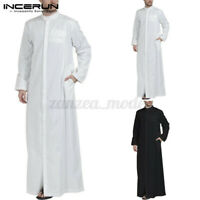 INCERUN Men's Muslim Clothing Saudi Arab Long Sleeve Thobe Islamic Thobe Kaftan