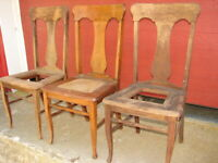 3 Antique Oak Formal T-Back Vase Back Dinning Room Chairs For Restoration #103
