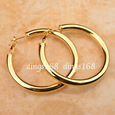 18k Gold Filled 2inch 5mm LightWeight Shiny Tubular Hoop Earrings NICKEL FREE Z7