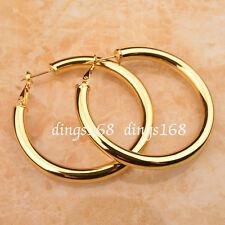 18k Gold Filled 2inch 5mm LightWeight Shiny Tubular Hoop Earrings NICKEL FREE Z7