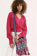 Free People Straw Tote Bucket Messenger Bag Pink Blue Drawstring Tassel OS NWT