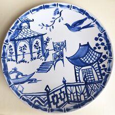 """7 Nicole Miller Melamine Blue and White Asian Scene Bird 11 1/2"""" Dinner Plates"""