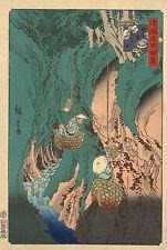 Japanese Art: Hiroshige: Famous Edo Views: Mushroom Gatherers :  Fine Art Print