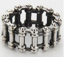 MOTORCYCLE CHAIN STAINLESS STEEL RING size 8 - S-546 biker MEN women linked NEW