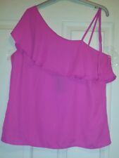 Bnwt New Look Women's Pink One Shoulder Ruffle Top Size 8