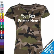 Ladies Custom Printed Camo T Shirt - Camouflage Tshirt Top Party Hen Night Gift