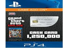 Grand Theft Auto Online:White Shark Cash $1,250,000 PS4 GTA 5 V Code $1.25 Mil
