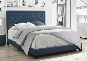 Dark Teal Fabric Upholstered Bed Wood Leg Queen Bed