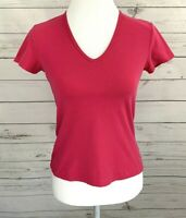 Ann Taylor Tee Womens XS Pink Solid V-Neck Cap Short Sleeve Fitted Stretch Top