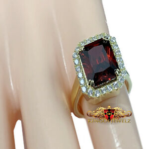 Italian 925 Silver Ladies 2 Tone Ruby Red Gemstone Solitaire Cocktail Party Ring