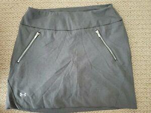 UA Under Armour Stretch Woven Golf Skirt Size M Medium Grey zipper pocket lining